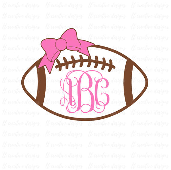 Bows clipart football. Monogram svg with bow