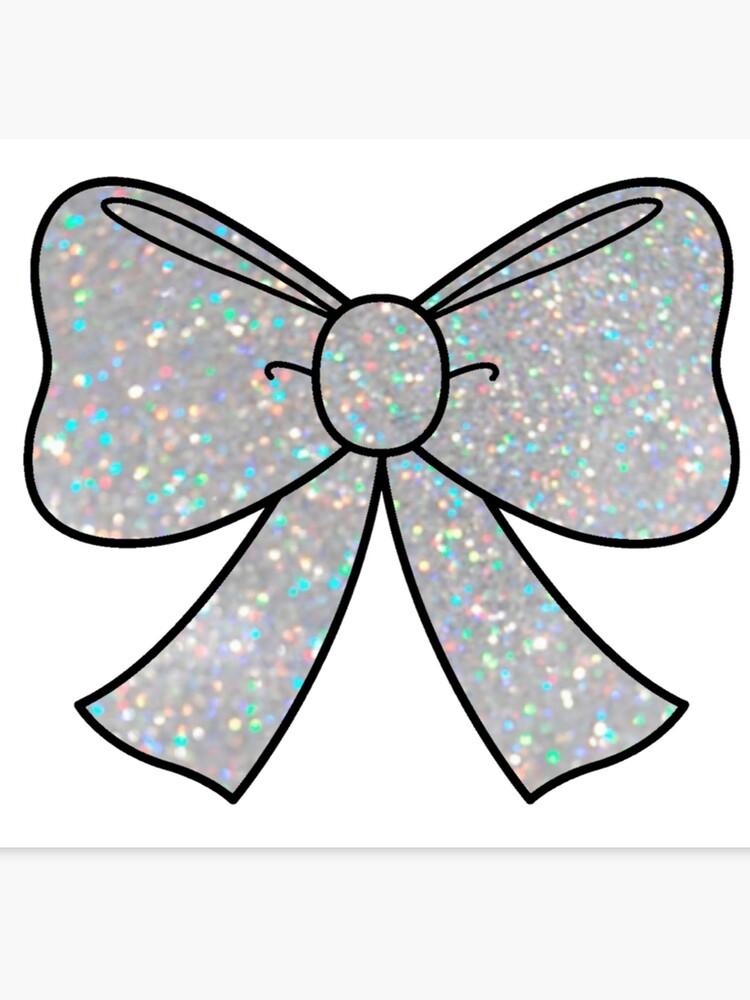 Silver sparkle bow canvas. Bows clipart glitter