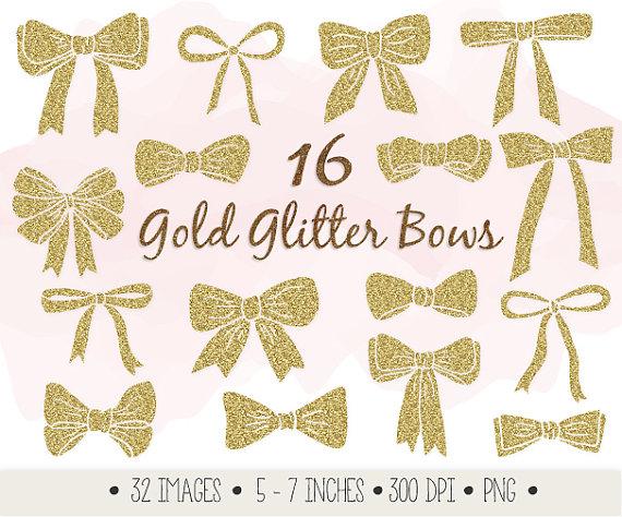 Gold clip art ribbons. Bows clipart glitter