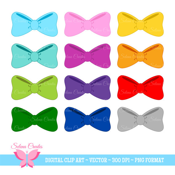 Hair Bow Clipart Set, Digital Clipart, Bows, Bow Tie, Vector, PNG ...