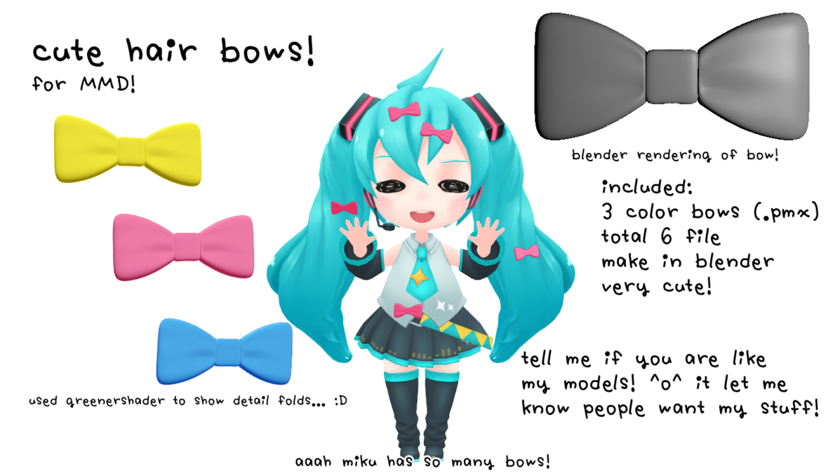 Mmd dl hair bow. Bows clipart kawaii