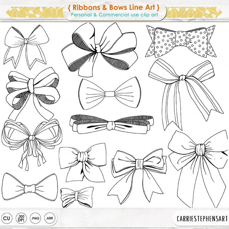 Ribbons tied bow hand. Bows clipart line art