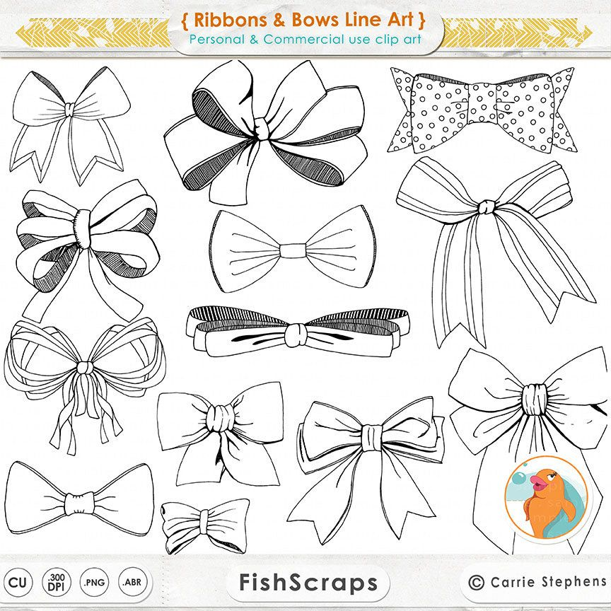 Bows clipart line drawing. Ribbons art tied bow
