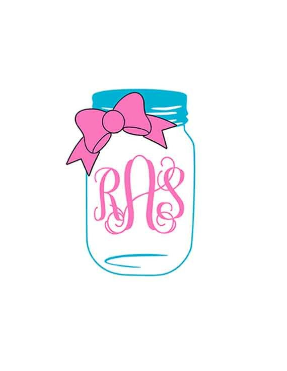 Svg bow monogram files. Bows clipart mason jar