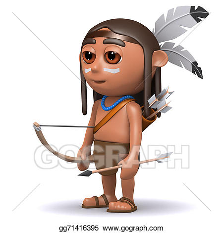 Bows clipart native american. Stock illustration d indian