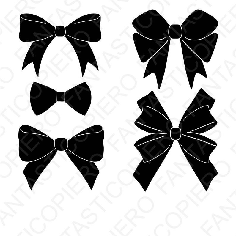 Bows clipart silhouette. Svg files for cameo