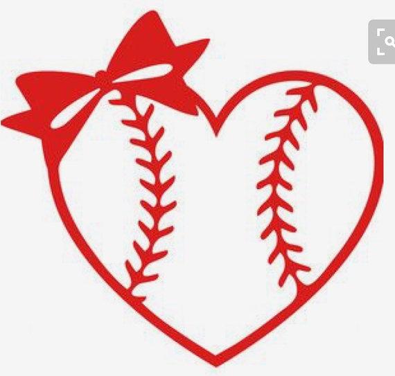 Baseball heart with bow. Bows clipart softball