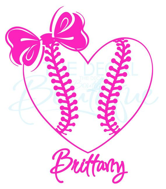 Personalized heart with bow. Bows clipart softball