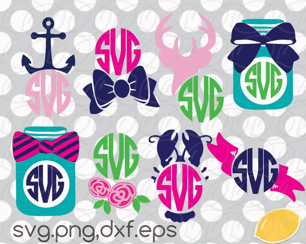 Bows clipart southern. Monogram svg set preppy