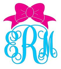 Bow monogram decal grace. Bows clipart southern