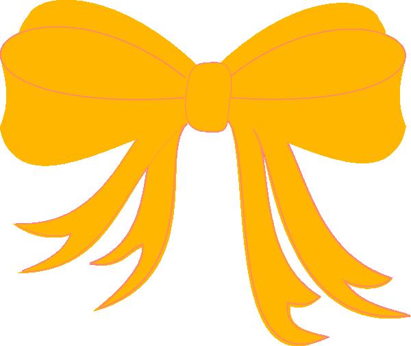 Yellow bow ribbon clip. Bows clipart vector