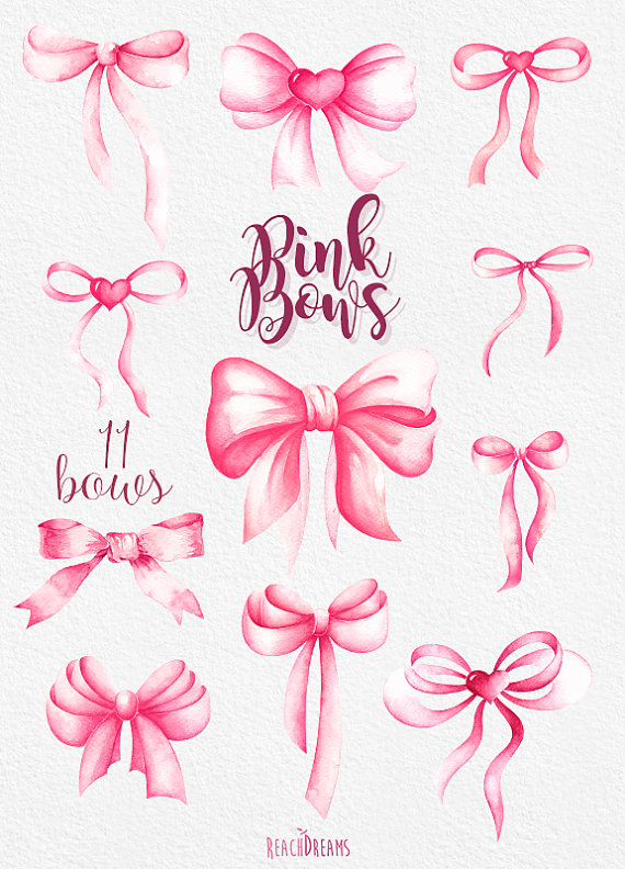 Bows clipart watercolor. Pink handpainted silk bow