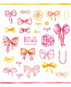 Pink handpainted silk bow. Bows clipart watercolor