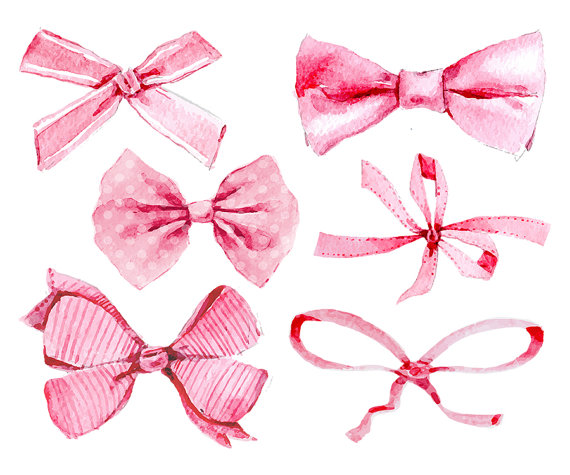 Bows clipart watercolor.  pink ribbons girl
