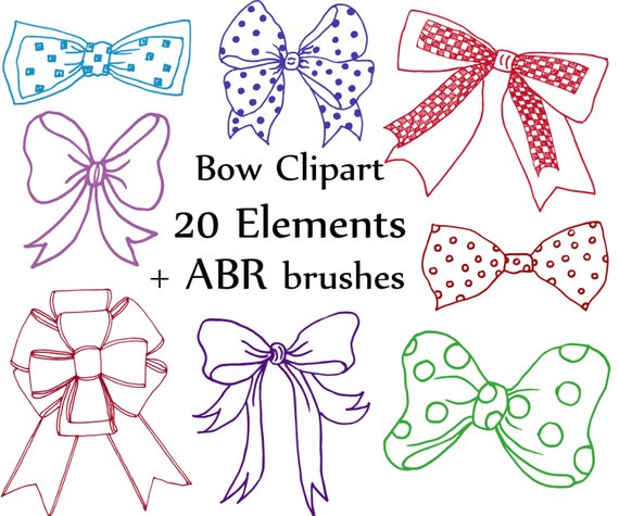 Clip art doodle ribbons. Bows clipart wedding