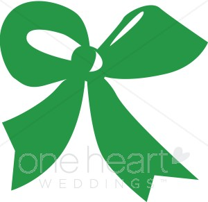 Bows clipart wedding. Green bow