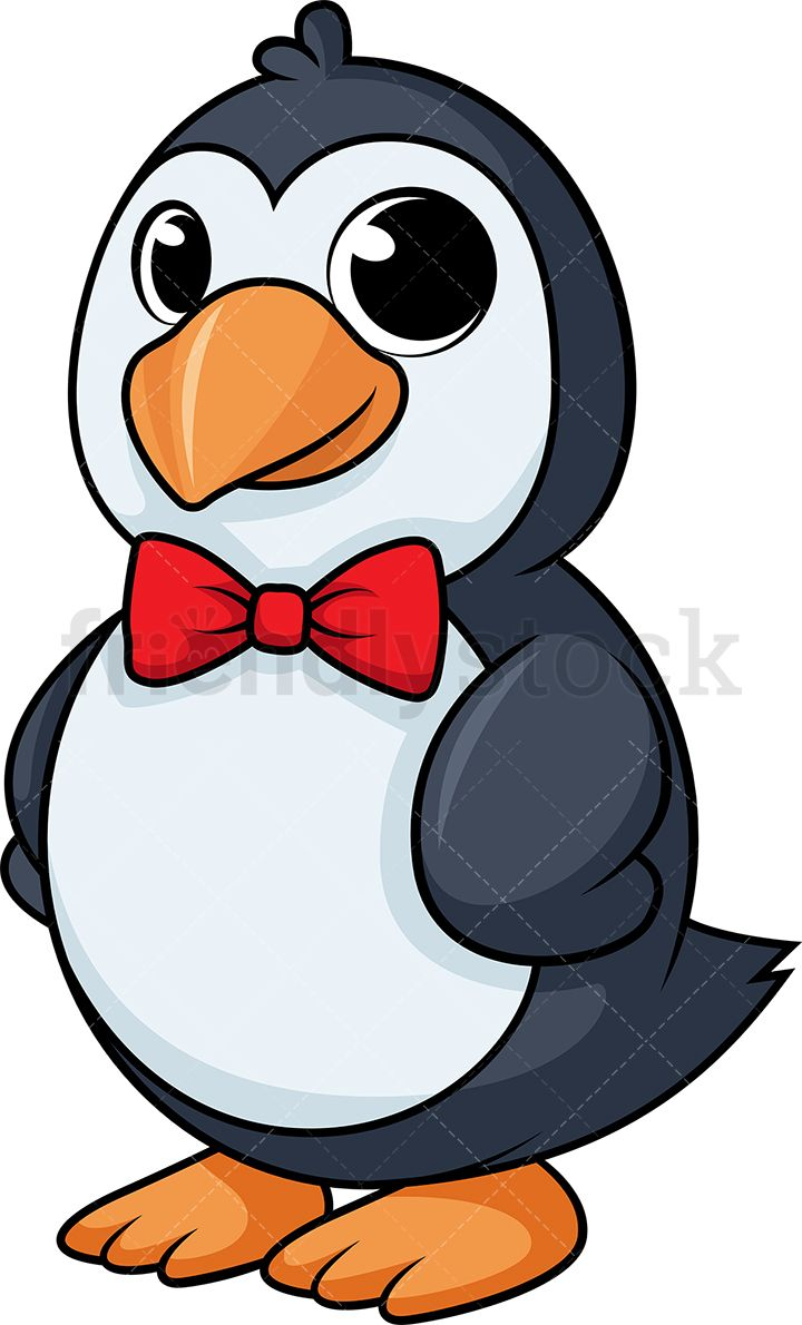 Classy penguin with clip. Clipart penquin bow tie