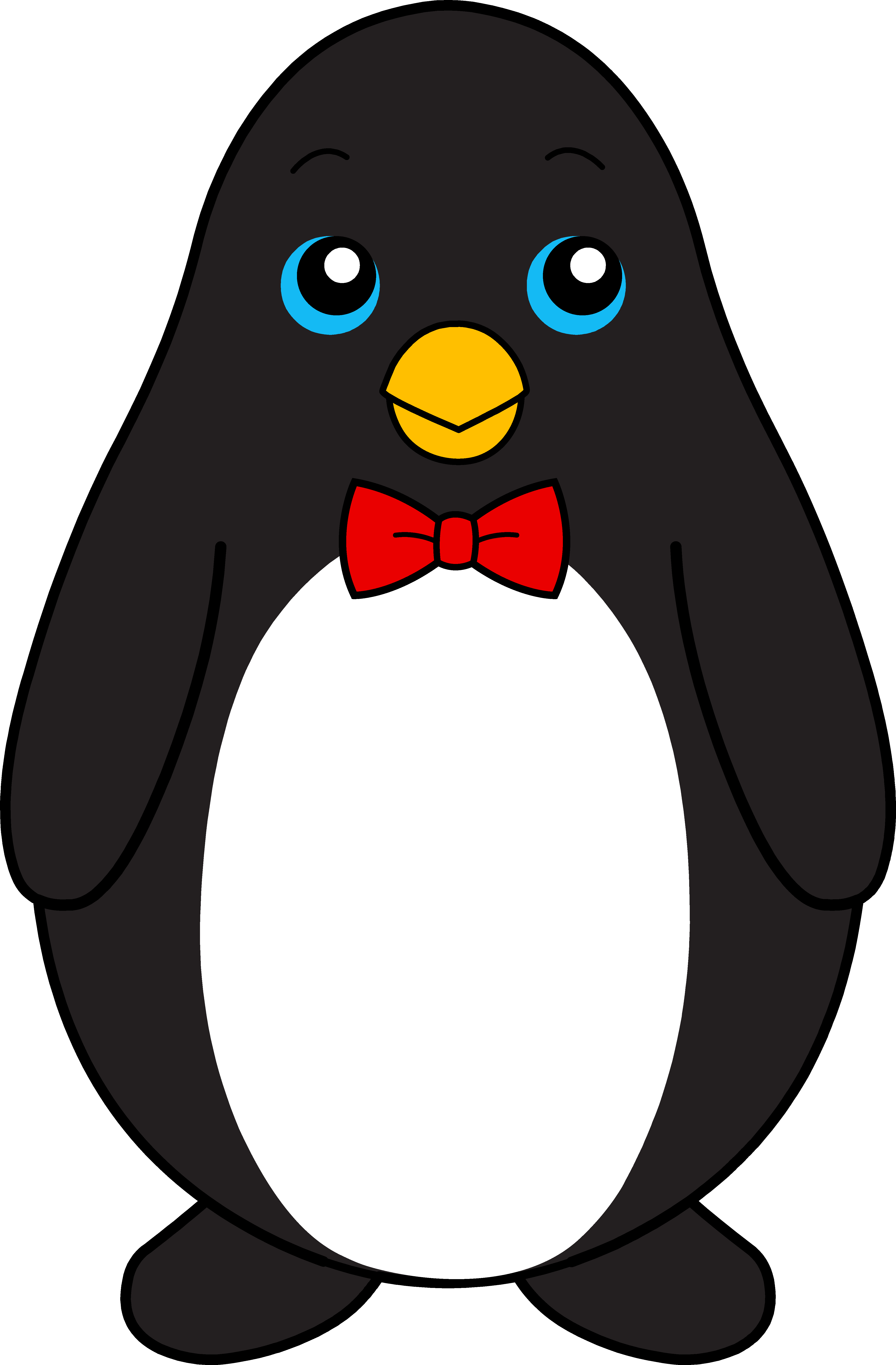 Cute black penguin with. Coloring clipart tie