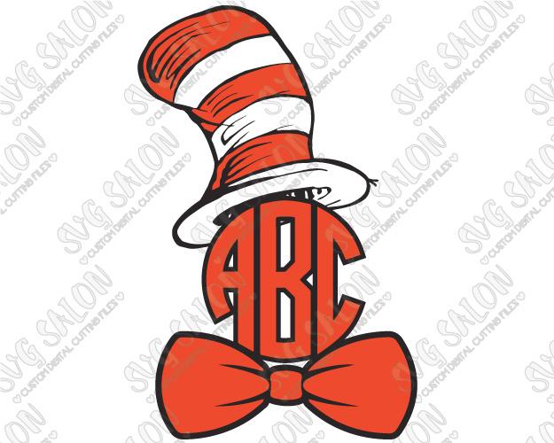 Dr seuss the monogram. Bowtie clipart cat in hat