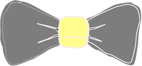 Yellow gray bow tie. Bowtie clipart grey