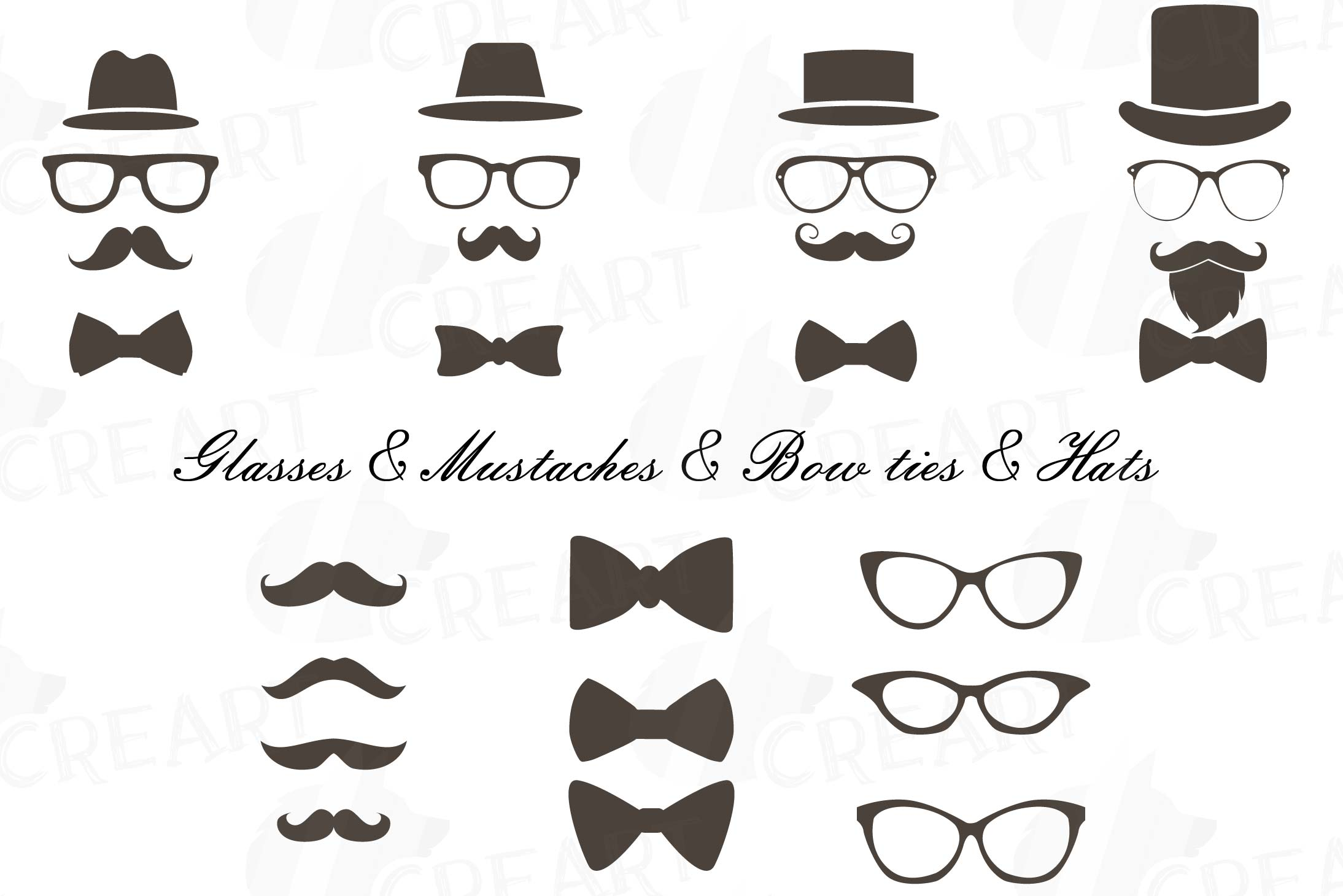 Bowtie clipart hipster. Mustaches hats glass icons