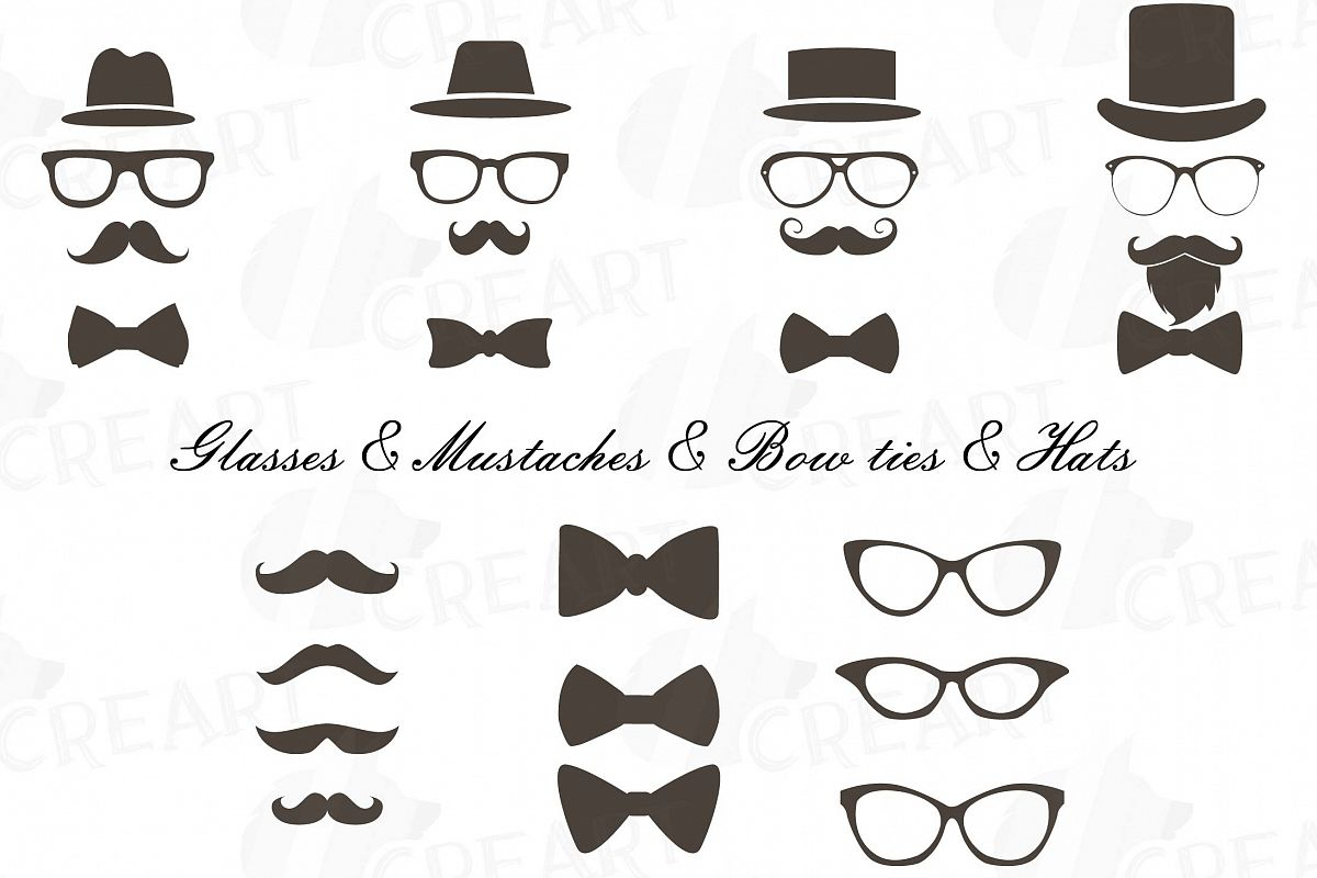 Mustaches hats glass bowtie. Moustache clipart bow tie