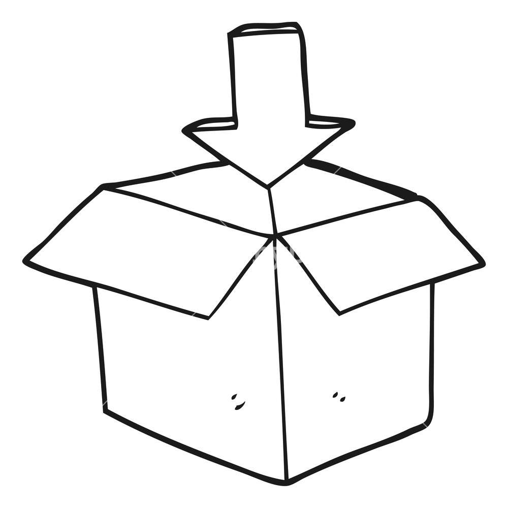 Freehand drawn cartoon box. Boxes clipart black and white