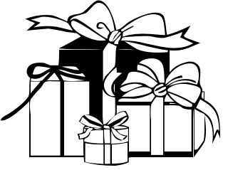 Gift station . Box clipart black and white
