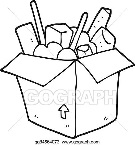 Vector stock cartoon box. Boxes clipart black and white