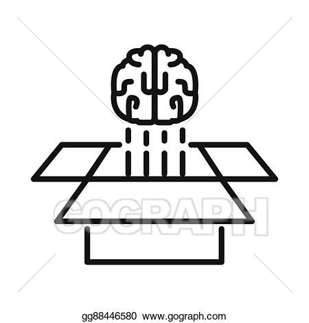 Eps illustration think out. Box clipart brain
