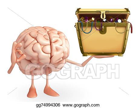 Box clipart brain. Character with treasure stock