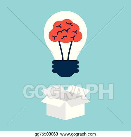 Vector illustration light bulb. Box clipart brain