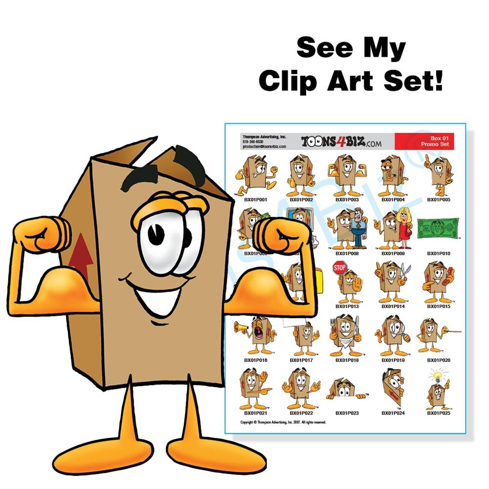 Shipping mascot clip art. Box clipart cartoon