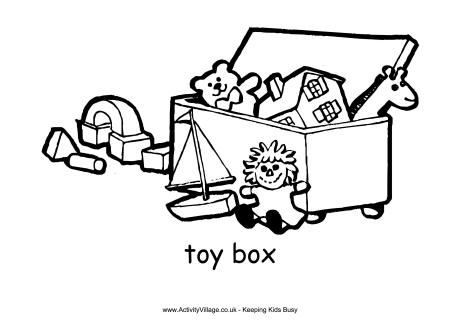 Toy page . Box clipart colouring