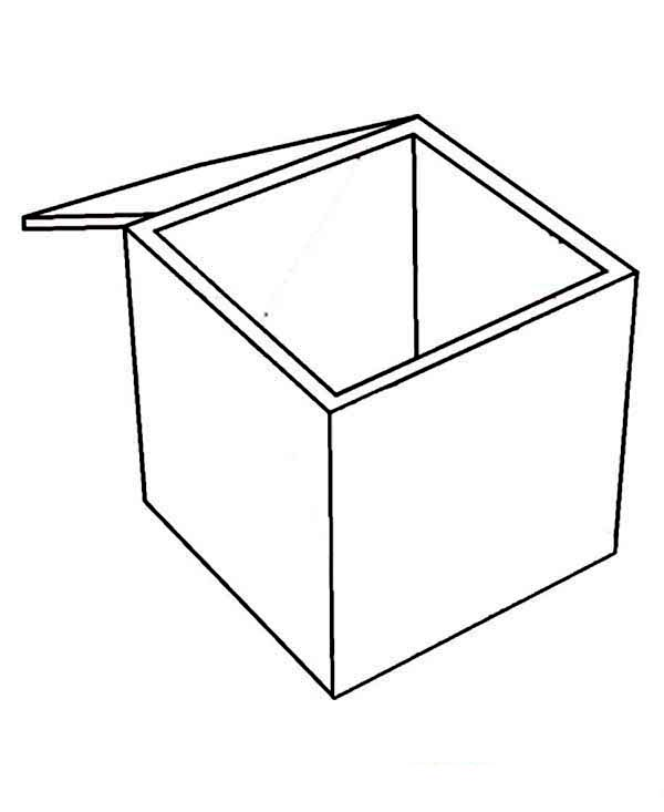 Boxes clipart colouring. Box coloring page empty