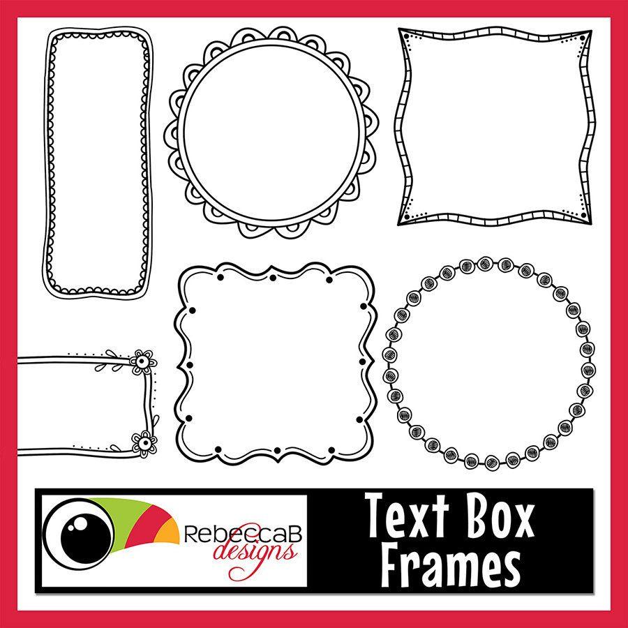 Frames text digital clip. Box clipart doodle