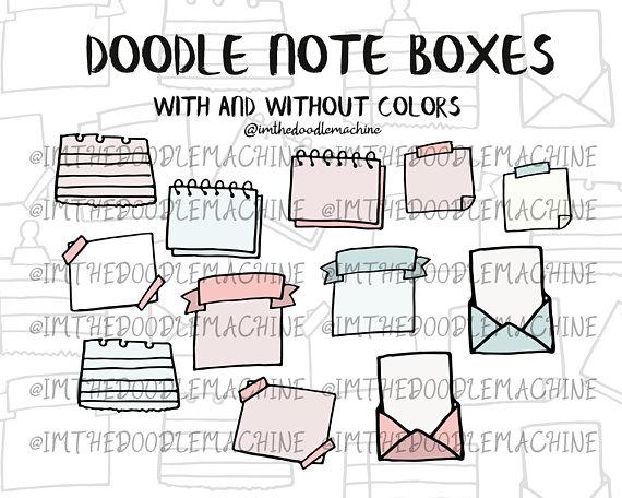 Set bullet journal note. Boxes clipart doodle
