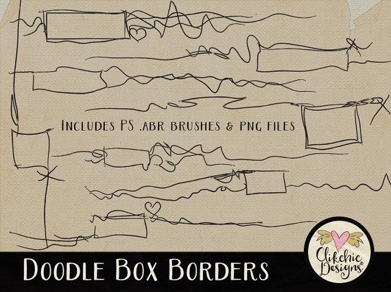 Borders digital scrapbook clip. Box clipart doodle