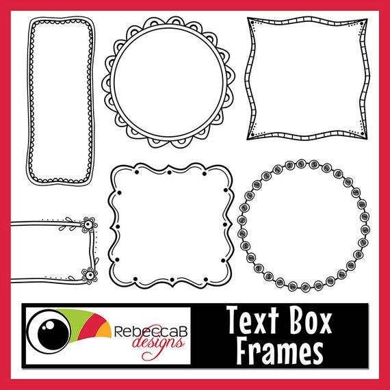 Box clipart doodle. Frames text digital clip