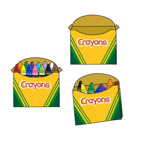 Crayon and educents . Box clipart empty box