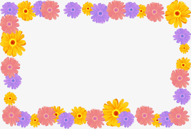 Hand drawn frame painting. Boxes clipart flower