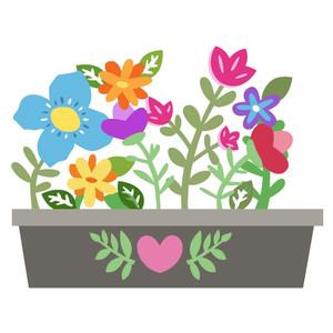 Silhouette design store view. Box clipart flower