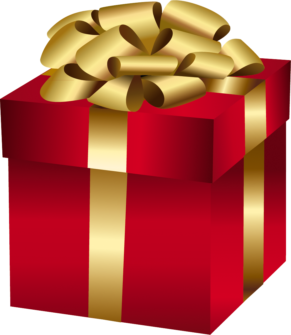 Large red gift with. Surprise clipart surprise box