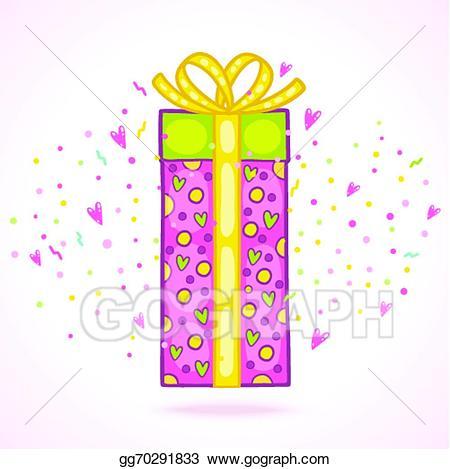 Box clipart happy birthday. Vector illustration present gift