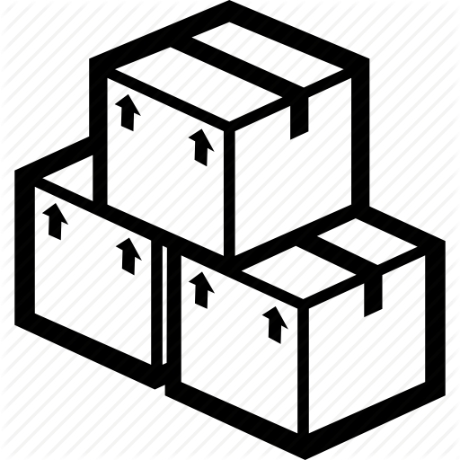 Cardboard box line technology. Boxes clipart icon