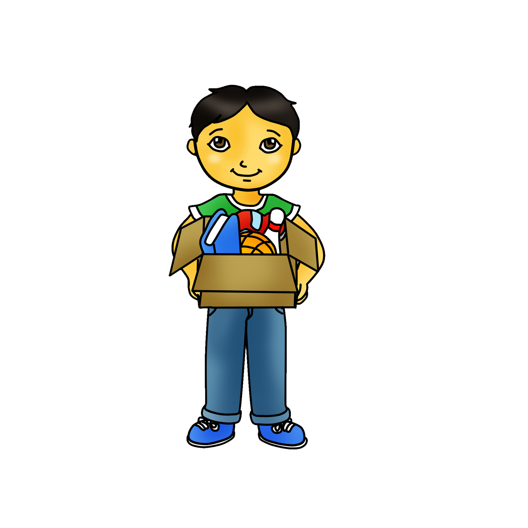Worry clipart boy. Kid holding box graphic
