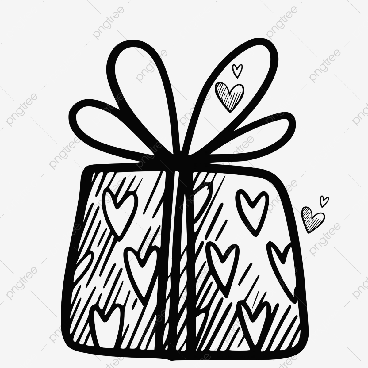 Simple gift box creative. Boxes clipart line drawing