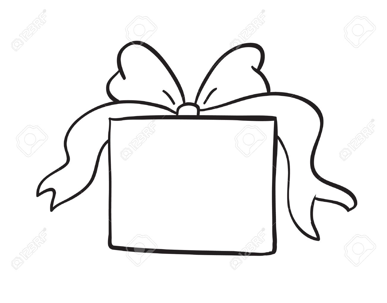 Box clipart line drawing.  collection of present