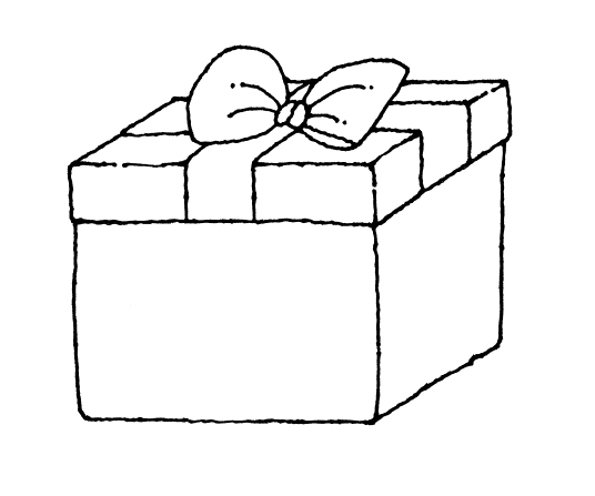 Gift box of a. Boxes clipart line drawing