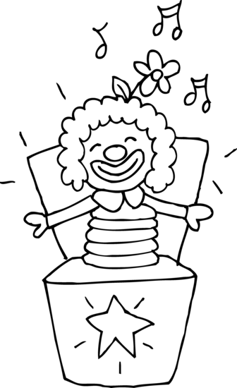 Colorable jack in the. Boxes clipart line drawing